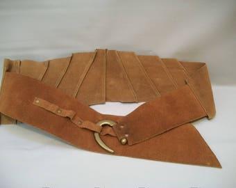 Vintage Suede/Leather Belt, Large Suede Belt with Brass Hook Buckle, Vintage Fashion Belt, Unique Belt, Tan Suede/Leather Belt,