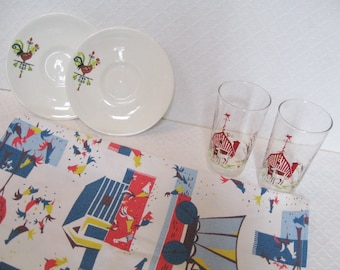 FARM FRESH: Collection of farm-related housewares, glasses, plates, fabric