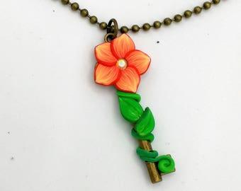 Orange Flower Key Pendant; 2 Inches Long; Antiqued Brass; Skeleton Key Pendant; Floral Blossom; Style: #ORF03