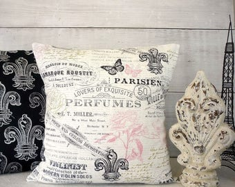 Eiffel Tower Pillow Cover, Fleur De Lis, Paris, French, Black White and Pink Shabby Cottage Chic Pillow
