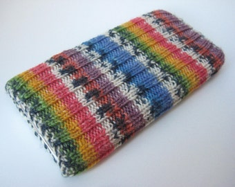 hand knitted wool iPhone 6 sock - mobile phone cosy - cellphone sock - iPhone case - smartphone sock - iPhone 7 sock - rainbow phone sock