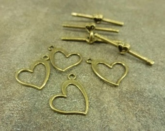 Heart Toggle Clasp 6pc Antiqued Bronze Tone 15x14mm Heart 28mm Bar