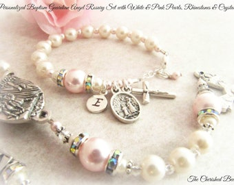Baptism Personalized Guardian Angel Rosary Set with Swarovski White and Light Pink Pearls, Rhinestones and Crystals - Heirloom Quality