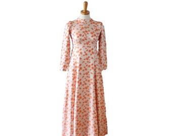 60% off sale // Vintage 70s Peach Tulip Brocade Full Length Dress // Women XS Small // formal, prom, wedding