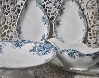 Antique French Art Nouveau Blue Transferware Collection - Clairefontaine Leon Graves - 1894-1913