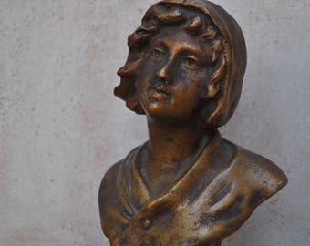 Art Nouveau Small French Plaster Bust - Le Lierre Goyau