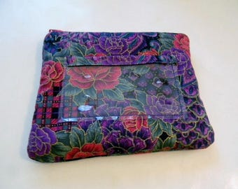 Purple and Red Roses Fabric Zipper Change Purse