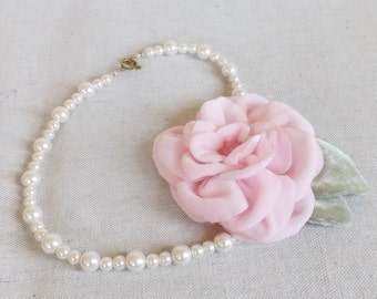 Pearl Necklace with Pink Velvet Flower