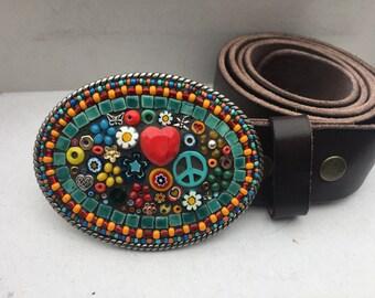 Peace Sign Belt, Boho Style Buckle, Flower Power Accessories, Women's Belts, Leather Belt Straps, Gift for Hippie, Handmade Mosaic, Custom