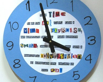 Wall clock. Unique wall clock.  Large wall clock. Clock with a message. Vinyl clock.  Recycled record.  Fun clock.