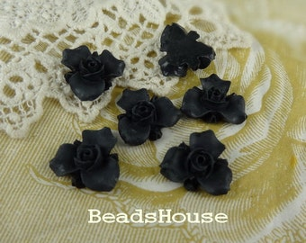 6pcs (15mm) Beautiful Flower Cabochon - Black