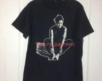 1980's Vintage Tracy Chapman 1989 Crossroads Tour Rock Band black T-shirt looks size Large 20x26 all cotton Fast Car