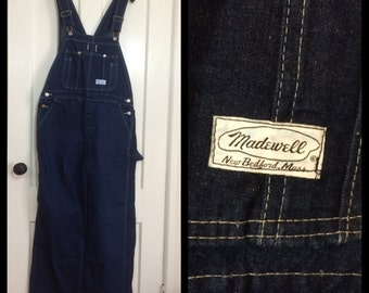 Vintage Madewell, New Bedford, MA Denim Farmer Carpenter blue jeans Overalls size 36x30 barely used dark wash made in USA