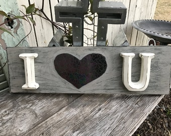 I Love You Black Iridescent Mosaic Heart Sign