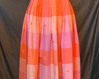 Vintage 1950s 1960s picnic plaid full skirt