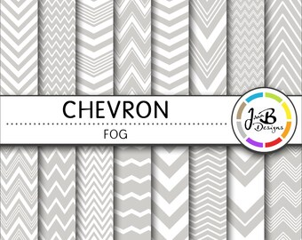 Chevron Digital Paper, Fog, Gray, Gray and White, Chevron, Zig Zag, Digital Paper, Digital Download, Scrapbook Paper, Digital Paper Pack