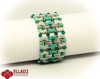 Tutorial Mona Bracelet - Beading tutorial with Arcos and Crescent beads, Instant download, Ellad2, Bracelet pattern