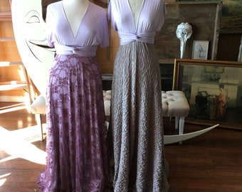 "Ready to Ship- Plus Size, 46"" Length ~Mulberry Lace Sea Thistle Lavender Infinity Wrap Dress- Wedding Gown, Bridesmaids, Maternity, Etc."