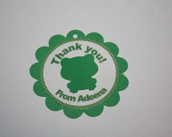 12 Frog Die Cut - Favor Tags - Gift Tags - Thank you Tags