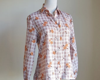 Vintage Collared Blouse, Button Down Shirt, Checked Shirt, Button Up Blouse, Brown Plaid and Orange Rose Print, Medium