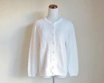 Vintage White Cardigan, Knit Sweater, Button Down Sweater, Cuddle Knits Cardigan, 60s 70s Sweater, Acrylic Sweater, Large