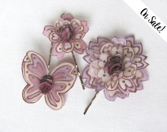 Three hand painted silk flower bobby pins - old rose butterfly and 2 flowers ***Item on sale*** Previous price : 29 EUR