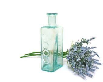 Vintage Blue Bottle  /  Turquoise Pharmacy Bottle  /   Aqua Poison Medical Bottle  /  Apothecary Supply  /  Collectible Glass