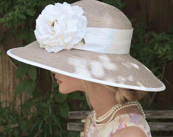 Women's Taupe Hat, Wedding Hat, Derby Hat, Formal Hat, Church Hat, Ascot Hat, Audrey Hepburn Hat, Dressy Hat, Ladies Hat Mother of Bride Hat