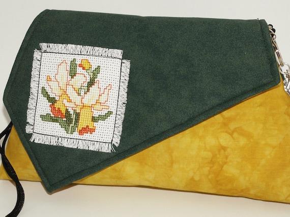 Handmade shoulder bag purse, pouch, handbag. Yellow, orange, red orange, green. Daffodil Artisan Bag by Lella Rae on Etsy