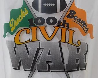 1996 Ducks Beavers Civil War Budweiser Glass