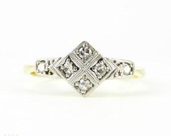 Art Deco Diamond Ring, Geometric Diamond Shape Bead Set Diamond Ring with Milgrain Beading. 18ct & PLAT, Circa 1930s.