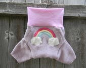 Upcycled Wool Shorties Soaker Cover Diaper Cover With Added Doubler Speckled Lavender/ Pink With Rainbow Applique MEDIUM 6-12M Kidsgogreen