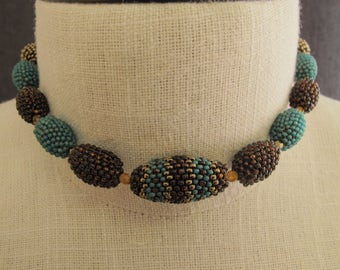 Teal & Brown Beaded Choker Handmade Necklace Beaded Beads