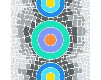 Circle art print mosaic geometric print contemporary wall decor wall art abstract modern room decor whimsical print mosaic art circle design