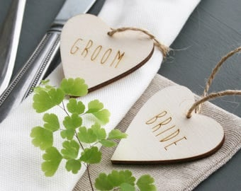 Personalised Heart Place Setting Set Of Two | Wedding Gift | Table Decoration | Natural String | Wood Product | Wedding Decoration