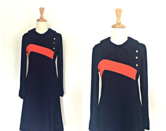 Vintage Nautical Dress - Toby Tanner - stewardess - blue dress - wool - 60s dress - aline - Medium