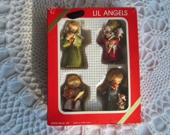 Vintage Lil Angels Boxed Christmas Ornaments Plastic Hong Kong Boy Girl Bunny Lambs Dove Set of 4