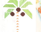 Tropical Palm Tree PDF quilt block pattern - Includes instructions for 6 inch and 12 inch blocks