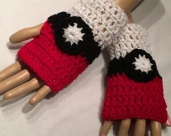 Crocheted Pokeball/Pokemon Inspired Fingerless Gloves-Adult Small/Medium