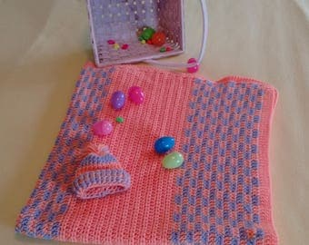 Crocheted orange and purple baby blanket w/hat, Crocheted Crib Blanket, Crocheted Baby Blanket