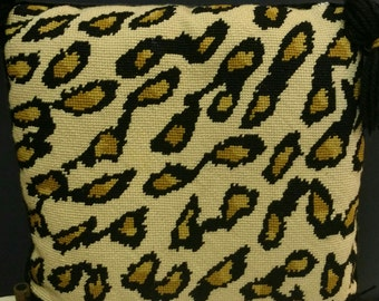 Vintage NeedlePoint Leopard Pillow