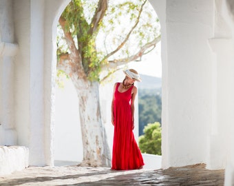 Long Red Linen Dress /Maxi/ High Waistline  / Summer Dress / Pure Linen / Beach Wedding Dress / Linen Wedding Dress/Crinkled Linen