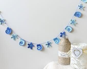 Beach party garland - Summer home decor - crochet garland - beach wedding decorations - sea shells and starfish garland ~37 inches