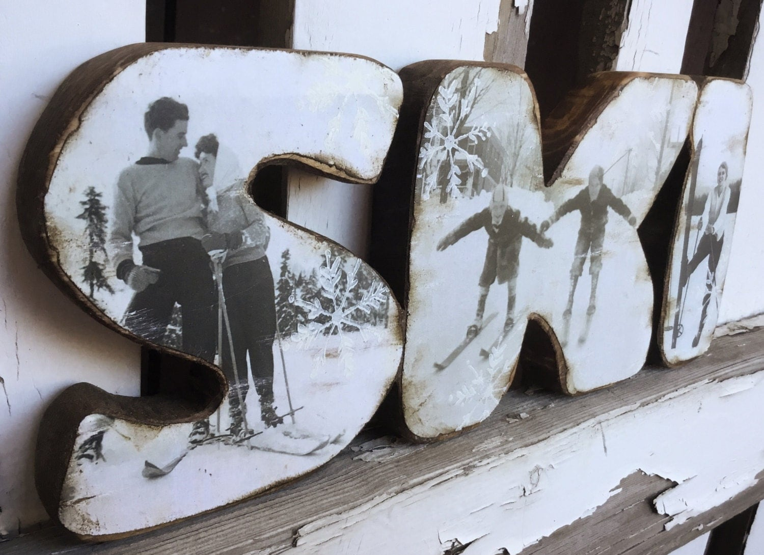 Handcrafted wood ski decor ski sign classic vintage skiers for Snowboard decor