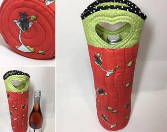 Scottie Dog Wine Tote Bag Wine Bag Scottish Martini Fabric Wine Bag Reusable Wine Tote