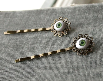 Eyeball Hairpins- Green Eye Evil Eye Bobby Pins, Evil Eye Hair Accessories, Eyeball Bobby Pins, Green Eyes, Eyeball Hair Accessories