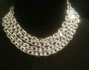 Vintage Signed Lisner Bib Chain Choker Necklace. Sparkling Silver Multi Chain Necklace.