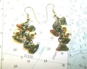 Unakite Pink & Green Stone Earrings - Gold Balls Bead Dangles