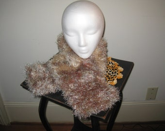 Hand Knitted Copper, Beige, and Bronze Scarf Made With Eyelash Yarn - 40 inches long and 6 inches wide