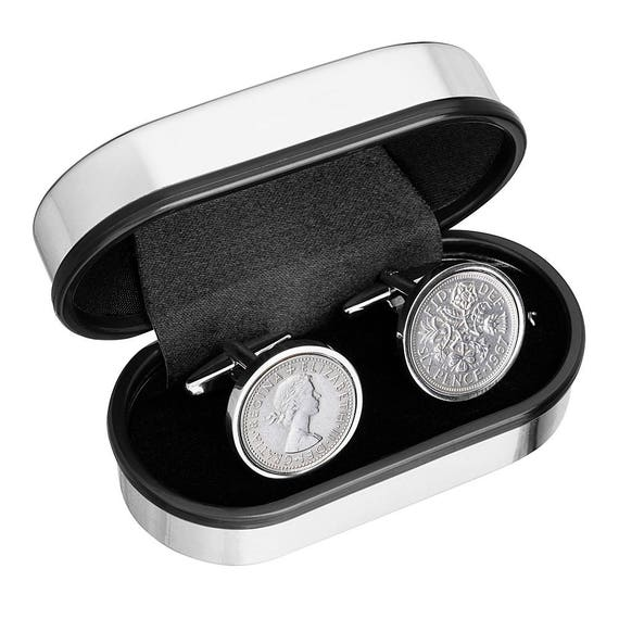 Groom Cufflinks - Genuine English lucky Sixpence for weddings - From the poem 'Something borrowed.....